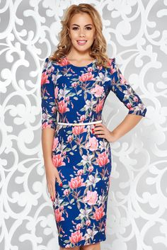 StarShinerS blue elegant pencil dress slightly elastic fabric accessorized with belt What Should I Wear Today, October 19, Product Label, Pencil Dress, Elegant Dresses, Soft Fabrics, Blue Dresses, Floral Prints