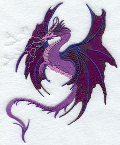 """Quilt Blocks,Embroidered,Dragons,whimsical,lightning,patchwork,12"""" x 12"""" white fabric,machine,premade"""
