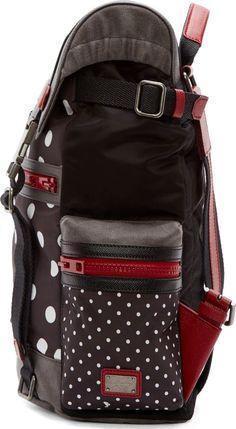 Dolce & Gabbana Black & White Polka Dot Colorblock Backpack