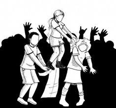 """Crowd surfing, modos de voo: Peça """"pézinho"""" para algum amigo e pegue impulso nos ombros de quem está na sua frente."""