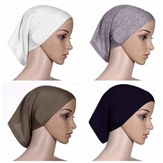 Ksweet 4pcs Lightweight Hijab Cap Under Scarf Women Tube Bonnet Cap Elastic Underscarves Inner Hijab Caps BlackGreyLight brownBeige -- Check out the image by visiting the link.