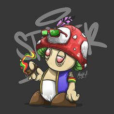 S T O N E R M U S H R O O M S #art #artwork #digitalart #vector #character #mushrooms #marijuana #cannabis #illustration #supermario