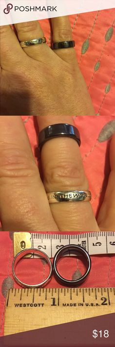 """2 ring bundle💍💍✌🏻 2 ring bundle💍💍✌🏻I think the black is size 7 and silver is size 9. The silver ring says """"Be the change you wish to see in the world"""" 💖 Jewelry Rings"""