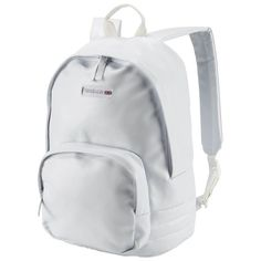 Reebok Unisex Classics Freestyle Backpack in White Size N SZ - Casual Accessories Men's Backpacks, College Backpacks, White Reebok, White Backpack, Rolling Backpack, School Accessories, New Reebok, Backpack Brands, Girly