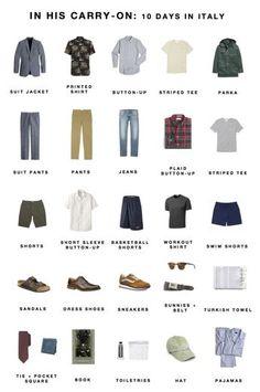 Men's Italy packing list