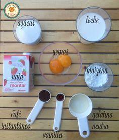 Ingredientes mousse de café. coffee mousse ingredients.