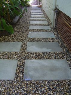 Large pavers and river rock path