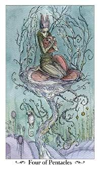 July 6 Tarot Card: Four of Pentacles (Paulina deck) Be careful how tightly you cling to your money and your things ~ they are such a small part of life