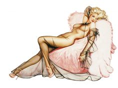 Heather Kozar in pinup pose wearing sheer outfit laying on pink fur.