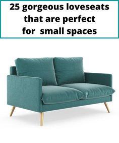 Sofa featurering blue velvet upholstering and stylish brass legs