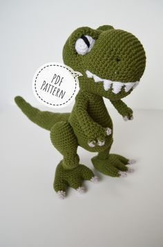 Crochet PDF dinosaur pattern, Amigurumu Dino Pettern, Crochet T-Rex, Handmade green T-Rex Do you want to surprise someone with an unusual gift made all by yourself? Then this green T-Rex is Crochet Stitches Uk, Treble Crochet Stitch, Single Crochet Stitch, Crochet Hook Sizes, Crochet Basics, Crochet Dinosaur Patterns, Amigurumi Patterns, Crochet Patterns, Magic Ring Crochet