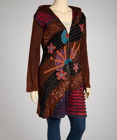 Brown Embellished Long Hooded Jacket - Plus | Daily deals for moms, babies and kids