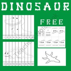 FREE Dinosaurs pack (push pin, number puzzle, & mini book) from Selma Dawani Educational Therapy on TeachersNotebook.com (4 pages)  - Montessori Materials    Push Pin Activities  Math Centers   Counting 1-10     Counting by 10's  Literacy Centers   Dino Colors Mini Book