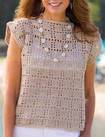 Vintage Crochet Pink Pullover Pattern, C - Diy Crafts Blouse Au Crochet, Débardeurs Au Crochet, Pull Crochet, Mode Crochet, Crochet Shirt, Crochet Woman, Crochet Cardigan, Crochet Stitches, Crochet Patterns