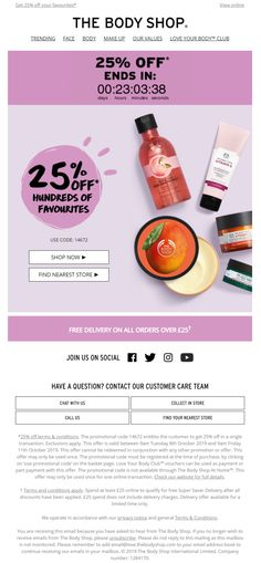 Countdown Timer in offer email from The Body Shop #EmailMarketing #Email #Marketing #CountdownTimer #Offer