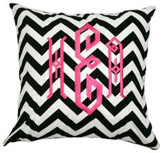 Monogrammed Black and White Chevron Throw Pillow - eclectic - pillows - - by Luxury Monograms