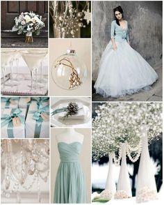 Winter wedding duck egg blue