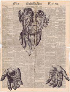 bic biro Drawing on a 1878 newspaper - musch more beyond/ besides information/ data - social ong inspiration 10 Beautiful Biro Pen Drawing Portraits Biro Art, Biro Drawing, Drawing Hair, Drawing Faces, Sketch Drawing, Drawing Tips, Drawing Ideas, Inspiration Art, Art Inspo