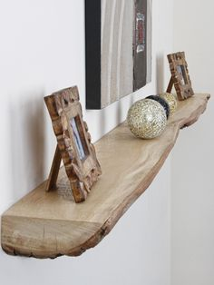 Natural floating shelve with favorite things