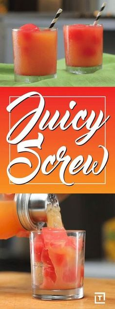 Juicy Screw Watermelon Vodka Cocktail Recipe Video - Thrillist Watermelon Vodka Drinks, Vodka Mixed Drinks, Vodka Summer Drinks, Orange Alcoholic Drinks, Alcoholic Beverages, Easy Fruity Mixed Drinks, Mix Drinks, Alcoholic Drinks That Taste Good, Good Mixed Drinks