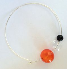 Murano blown glass transparent-red clear and black bubbles beads necklace choker URANIA#4