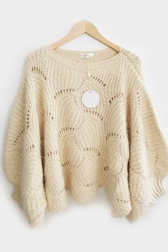 Pull poncho maille écru Amy Lou