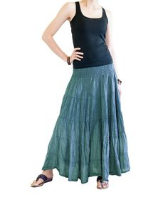 Boho Broomstick Tiered Long Skirt Shirred Waist Crinkle Cotton Gypsy Hippie Style (Turquoise) Hippie Skirts, Bohemian Skirt, Boho Skirts, Hippie Style, Bohemian Style, Boho Chic, Boho Fashion Over 40, Skirt Fashion, Tie Dye Skirt
