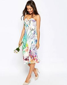 Image 1 of ASOS WEDDING Bandeau Midi Pencil Dress With Crop Jacket In Floral Print