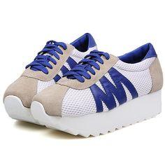 Blue Sneakers | Korean Style Color Block Thick Heels Sport Sneaker On Ushoes2014