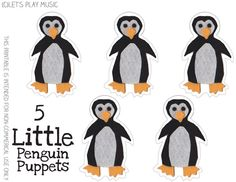 5 Little Penguins - Winter Counting Song - Free Puppet Printable
