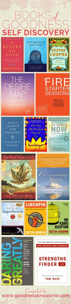A collection of 15 books to help each of us discover our inner goodness. Click the link below for a complete list from Amazon.com http://www.amazon.com/gp/registry/wishlist/1Q0R8RACF09AB/ref=topnav_lists_3  #goodnessknows #goodbooks #selfdiscovery
