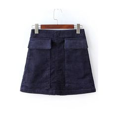 Corduroy A-Line Navy Skirt With Pockets (985 PHP) ❤ liked on Polyvore featuring skirts, blue skirt, navy skirt, a-line skirt, navy a line skirt and knee length a line skirt