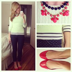 White sweater, striped blouse, dotted skinnies, red flats, red statement necklace