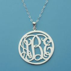 Circle Monogram Necklace Sterling Silver Monogram Necklace