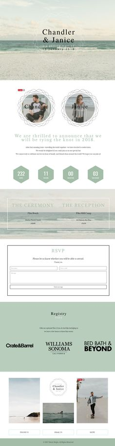 The Beach Wedding website. No more crappy templates! Wedding Website Examples, Wedding Announcements, Merry And Bright, Crate And Barrel, Reception, Beach Ideas, Templates, Marriage Announcement, Stencils