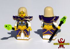 I had Justin R. Stebbins @ Saber-Scorpion's Lair create this custom Lego minifig for me of my favorite World of Warcraft characters Jaina Proudmoore. Check out Justin's Facebook https://www.facebook.com/SaberScorpionsLair and give it a LIKE.  Saber-Scorpion's Lair's  website of his other amazing creations.  http://www.saber-scorpion.com/