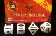 A Set of 4 dice that allow you roll up a 3rd, 3.5 or Pathfinder character, including Race, Class and Alignment. Each set includes 2 alignment dice, 1 race die a
