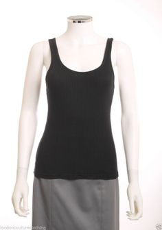 JUICY COUTURE SCOOP NECK RIBBING DOWN FRONT  SLEEVELESS BLACK TANK TOP SZ SMALL #JuicyCouture
