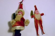 1940 Christmas Ornaments   Pair of 1940's Christmas Ornaments Chenille Santas with Clay Faces