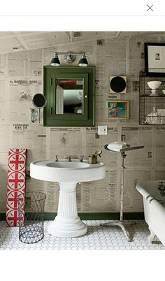 Newspaper as wallpaper in the bathroom.