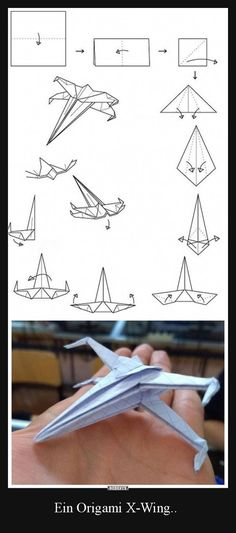 Origami star wars x wing ideas - DIY Papier Star Wars Origami, Origami Stars, Origami Airplane, Fun Crafts, Diy And Crafts, Crafts For Kids, Arts And Crafts, Paper Crafts, Paper Folding Crafts