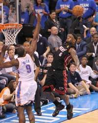 LeBron James #6 of the Miami Heat goes to the basket against Serge Ibaka #9 of the Oklahoma City Thunder during Game Two of the 2012 NBA Finals, #MiamiHeat http://www.fansedge.com/LeBron-James-Miami-Heat-NBA-Finals-Game-2-6142012-_-1176956435_PD.html?social=pinterest_pfid77-20217