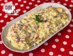 Köz Biberli Ve Soslu Enfes Patates Salatası - Nefis Yemek Tarifleri Potato Salad, Macaroni And Cheese, Meat, Chicken, Cooking, Ethnic Recipes, Food, Kitchen, Mac And Cheese