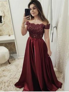 Modern Satin & Lace Off-the-shoulder Short Sleeves A-line Prom Dresses PD290