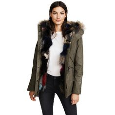 SAM. Luxe Limelight Parka ($1,690) ❤ liked on Polyvore featuring outerwear, coats, army, fur coat, hooded parka, fox fur coat, fox fur parka and brown fur coat