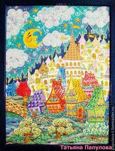 """Купить Картина """"Городок"""" - комбинированный, Витраж, картина, домик, домики, сказочный, точечная роспись, стекло"""