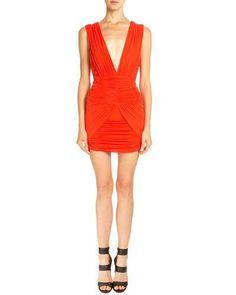 BALMAIN Sleeveless Ruched Mini Dress, Coral. #balmain #cloth #