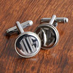 Silver Round Beaded Cufflinks
