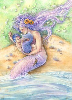 Mermaid Art Print Purple Mermaid with Baby on Seashell Beach
