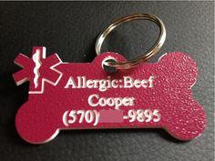 Pets Medical Alert Dog Tag Engraved Pet Tag by CJWOODCRAFTS, $9.00